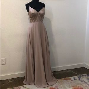 Dresses & Skirts - Nude pink Satin bodice chiffon skirt gown